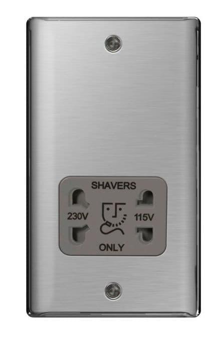 BG Shaver Socket 115/230v - Brushed Steel
